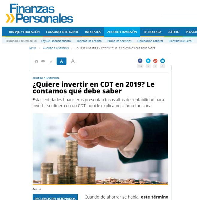 Finanzas Personales CDTenlinea Febrero 2019